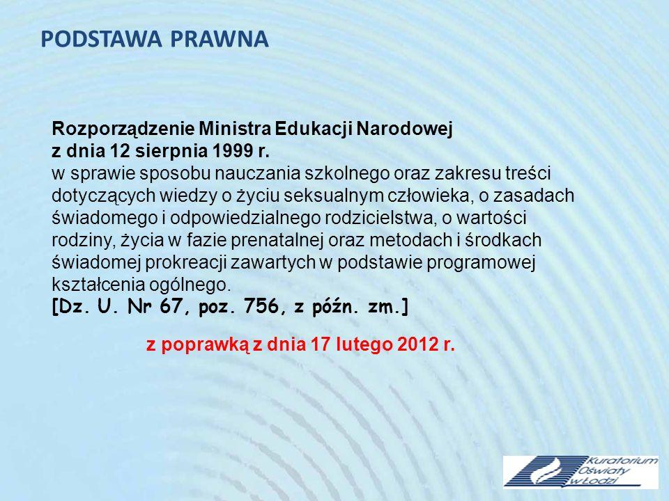 PODSTAWA PRAWNA Rozporządzenie Ministra Edukacji Narodowej z dnia 12 sierpnia 1999 r.