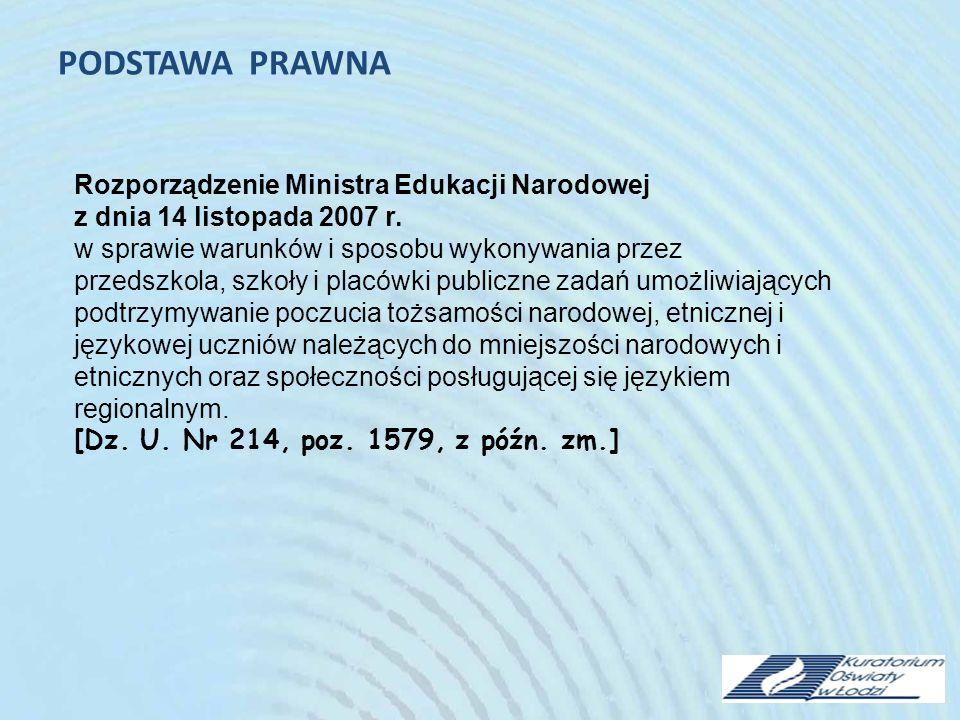 PODSTAWA PRAWNA Rozporządzenie Ministra Edukacji Narodowej z dnia 14 listopada 2007 r.