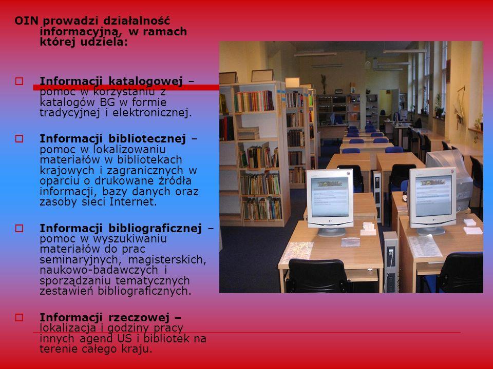 Bazy danych – użytkownicy mają do dyspozycji 12 stanowisk komputerowych, na których udostępnia się bazy danych (polskie i zagraniczne bazy pełnoteksto