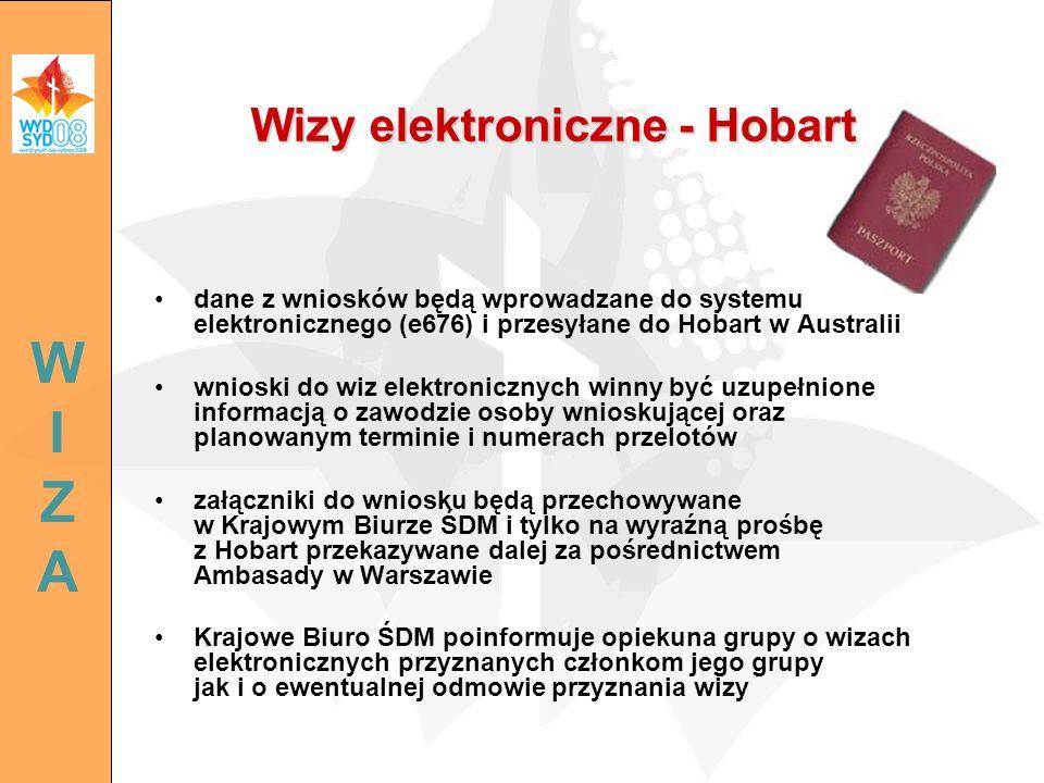 dane z wniosków będą wprowadzane do systemu elektronicznego (e676) i przesyłane do Hobart w Australii wnioski do wiz elektronicznych winny być uzupełn