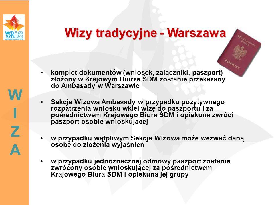 komplet dokumentów (wniosek, załączniki, paszport) złożony w Krajowym Biurze ŚDM zostanie przekazany do Ambasady w Warszawie Sekcja Wizowa Ambasady w