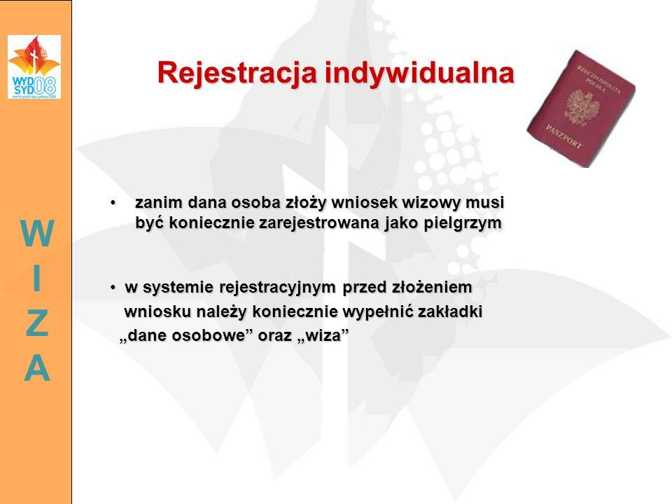 Rejestracja indywidualna zanim dana osoba złoży wniosek wizowy musi być koniecznie zarejestrowana jako pielgrzymzanim dana osoba złoży wniosek wizowy