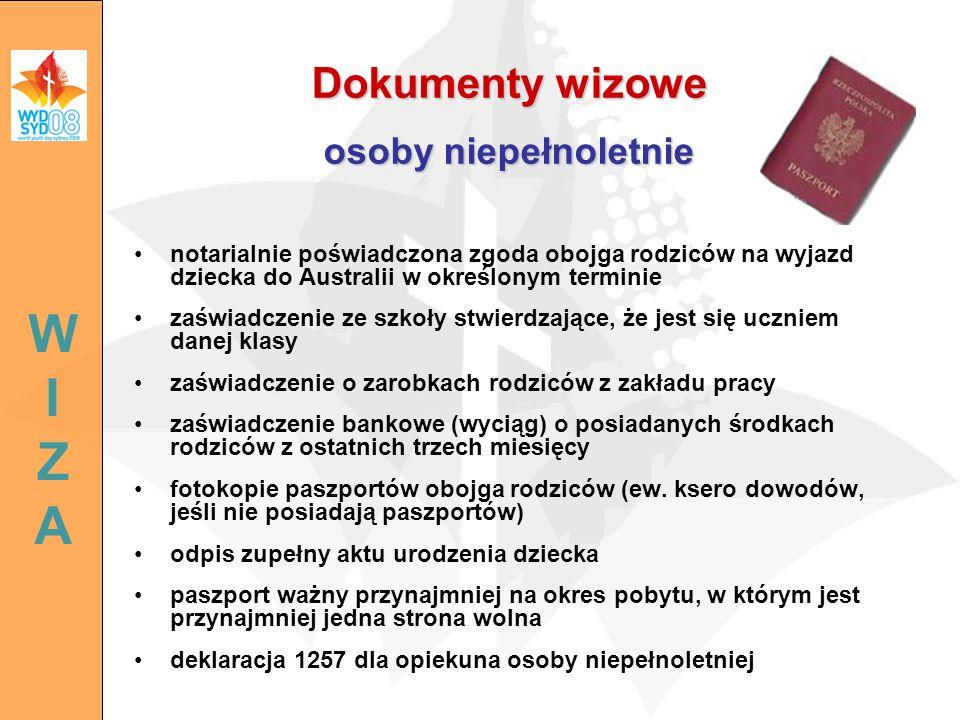 Dokumenty wizowe osoby niepełnoletnie notarialnie poświadczona zgoda obojga rodziców na wyjazd dziecka do Australii w określonym terminie zaświadczeni