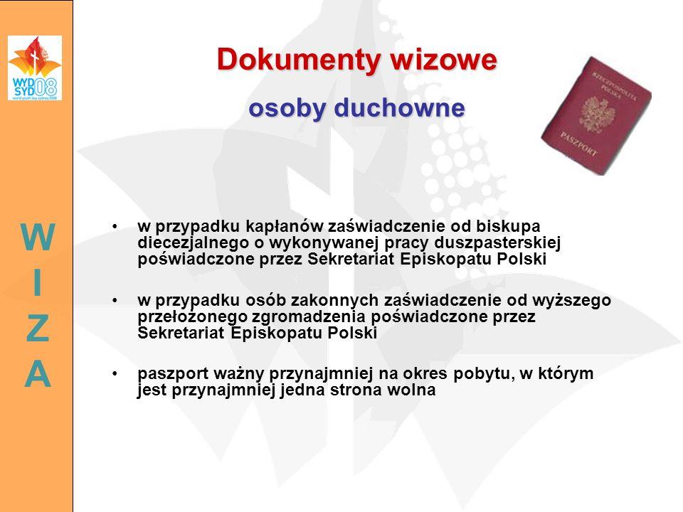 w przypadku kapłanów zaświadczenie od biskupa diecezjalnego o wykonywanej pracy duszpasterskiej poświadczone przez Sekretariat Episkopatu Polski w prz