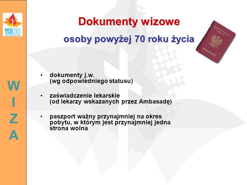 dokumenty j.w. (wg odpowiedniego statusu) zaświadczenie lekarskie (od lekarzy wskazanych przez Ambasadę) paszport ważny przynajmniej na okres pobytu,