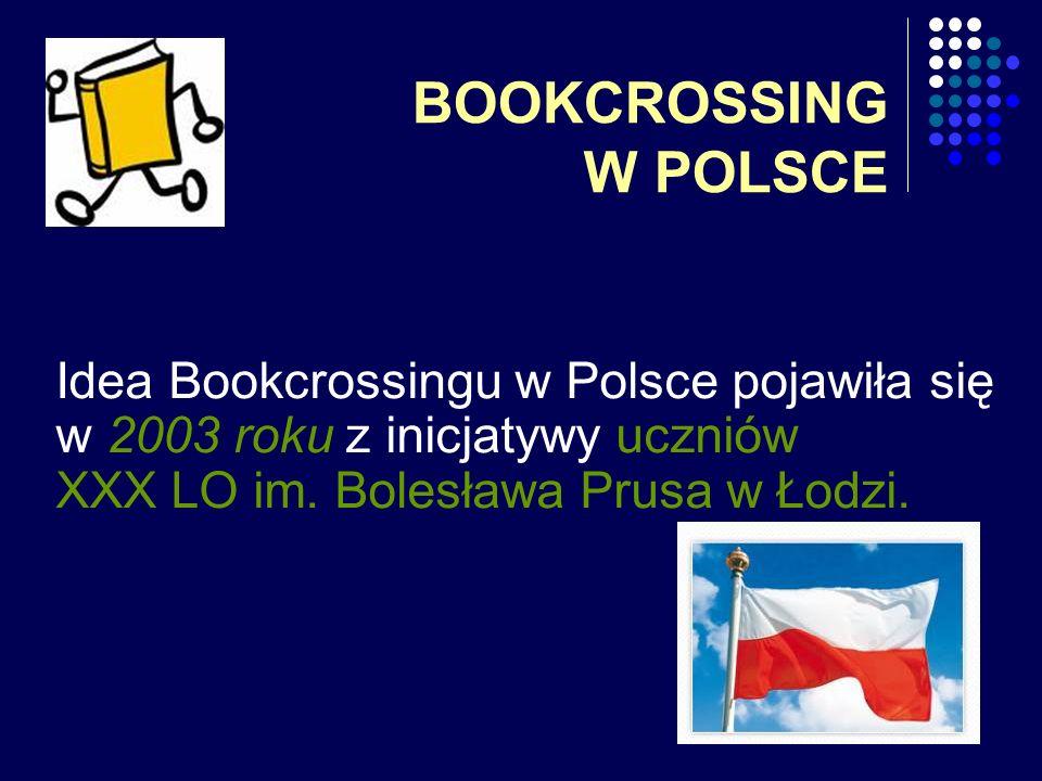 BOOKCROSSING W POLSCE Idea Bookcrossingu w Polsce pojawiła się w 2003 roku z inicjatywy uczniów XXX LO im. Bolesława Prusa w Łodzi.