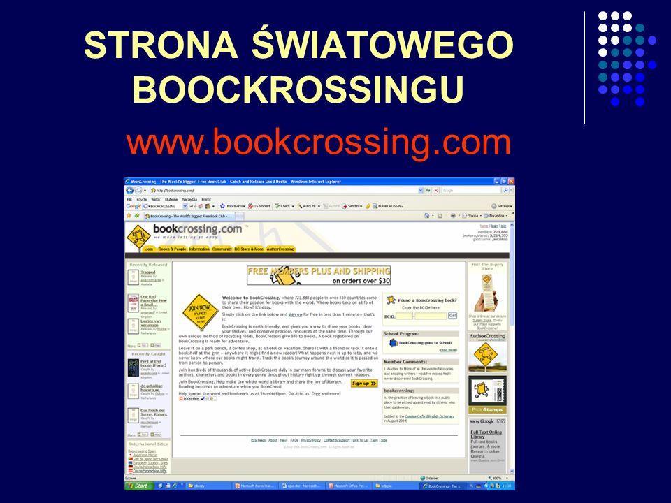 STRONA ŚWIATOWEGO BOOCKROSSINGU www.bookcrossing.com