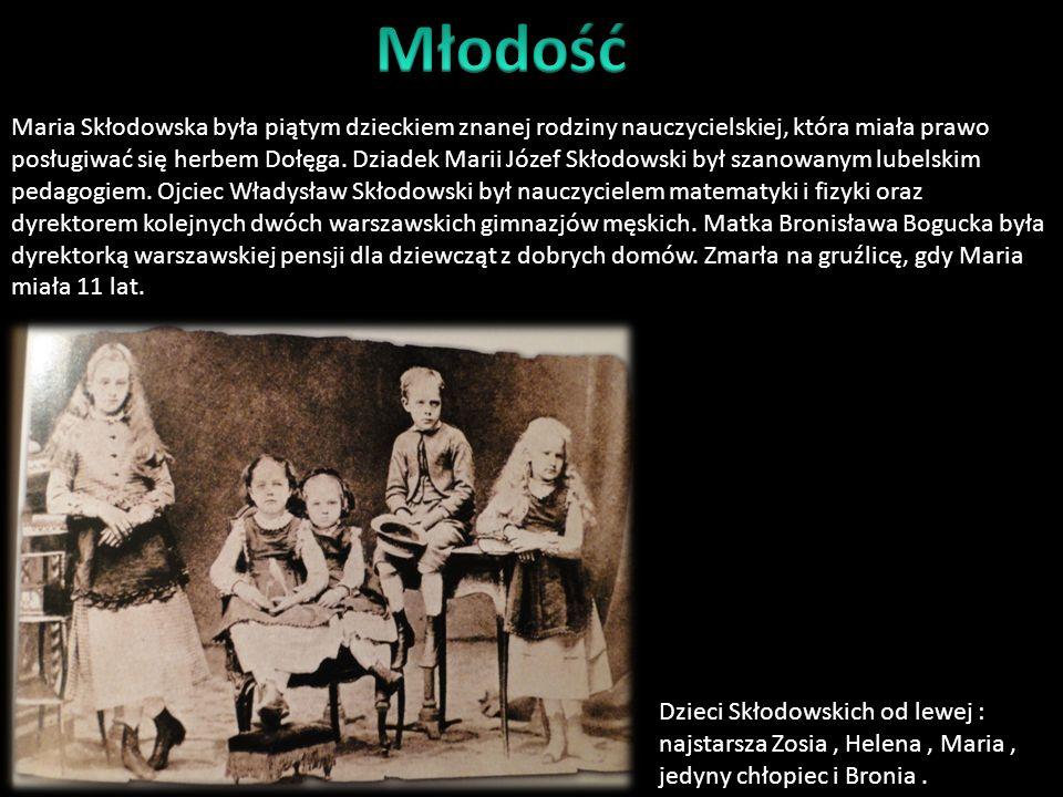 Maria przyszła na świat 7 IX 1867 roku w Warszawie. Wychowywana była w rodzinie inteligenckiej należącej do czołówki polskiej inteligencji. Atmosfera