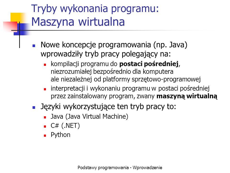 Podstawy programowania - Wprowadzenie Tryby wykonania programu: Maszyna wirtualna Nowe koncepcje programowania (np. Java) wprowadziły tryb pracy poleg