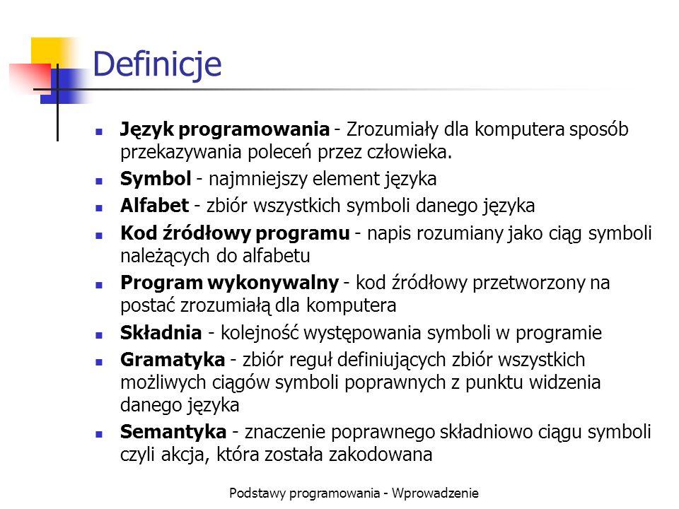 Podstawy programowania - Wprowadzenie Definicje Język programowania - Zrozumiały dla komputera sposób przekazywania poleceń przez człowieka. Symbol -