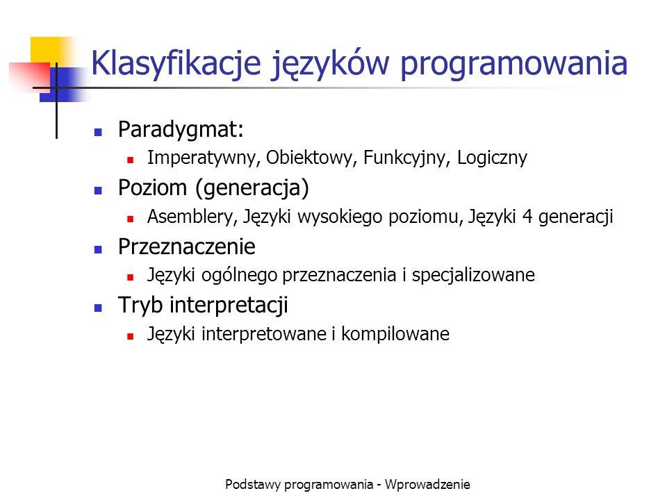 Podstawy programowania - Wprowadzenie Klasyfikacje języków programowania Paradygmat: Imperatywny, Obiektowy, Funkcyjny, Logiczny Poziom (generacja) As
