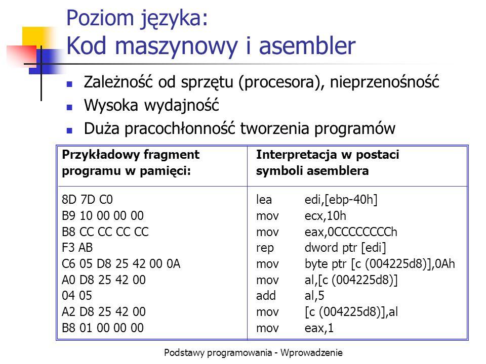 Podstawy programowania - Wprowadzenie Poziom języka: Kod maszynowy i asembler Przykładowy fragmentInterpretacja w postaci programu w pamięci:symboli a