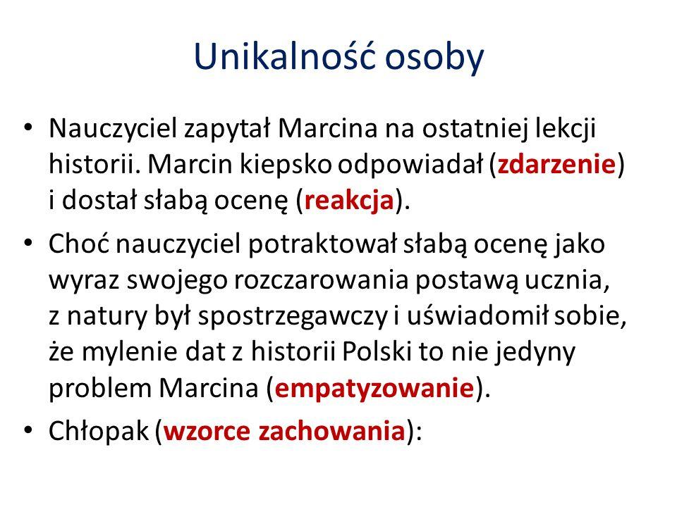 Unikalność osoby Nauczyciel zapytał Marcina na ostatniej lekcji historii.