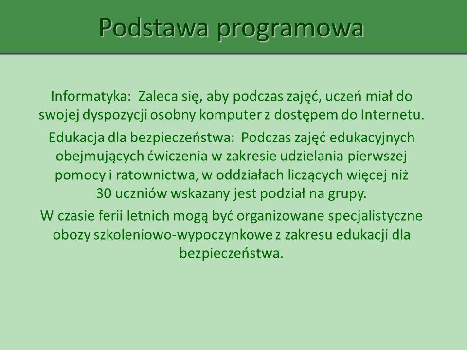 Podstawa programowa Informatyka: Zaleca się, aby podczas zajęć, uczeń miał do swojej dyspozycji osobny komputer z dostępem do Internetu. Edukacja dla