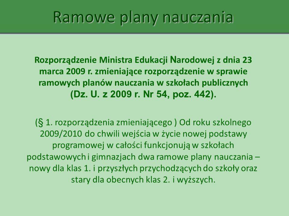 Ramowe plany nauczania Rozporządzenie Ministra Edukacji N arodowej z dnia 23 marca 2009 r. zmieniające rozporządzenie w sprawie ramowych planów naucza