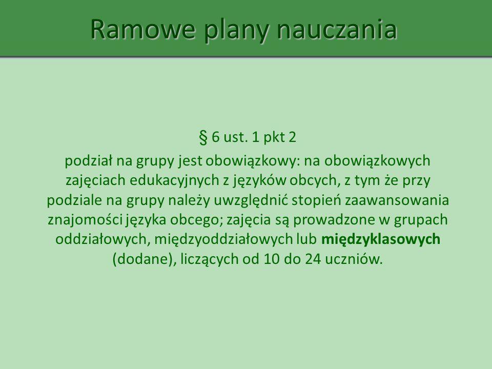 Ramowe plany nauczania § 6 ust. 1 pkt 2 podział na grupy jest obowiązkowy: na obowiązkowych zajęciach edukacyjnych z języków obcych, z tym że przy pod