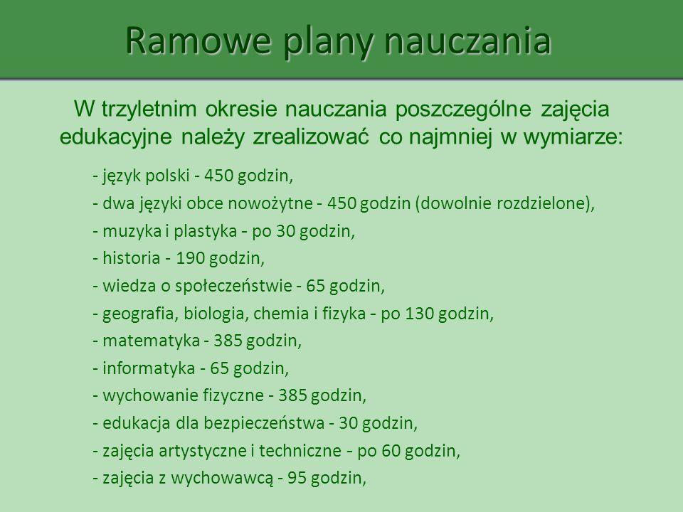 - język polski - 450 godzin, - dwa języki obce nowożytne - 450 godzin (dowolnie rozdzielone), - muzyka i plastyka - po 30 godzin, - historia - 190 god