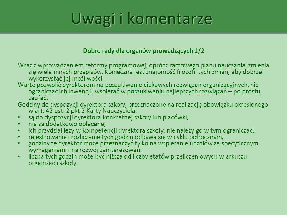Uwagi i komentarze Dobre rady dla organów prowadzących 1/2 Wraz z wprowadzeniem reformy programowej, oprócz ramowego planu nauczania, zmienia się wiel