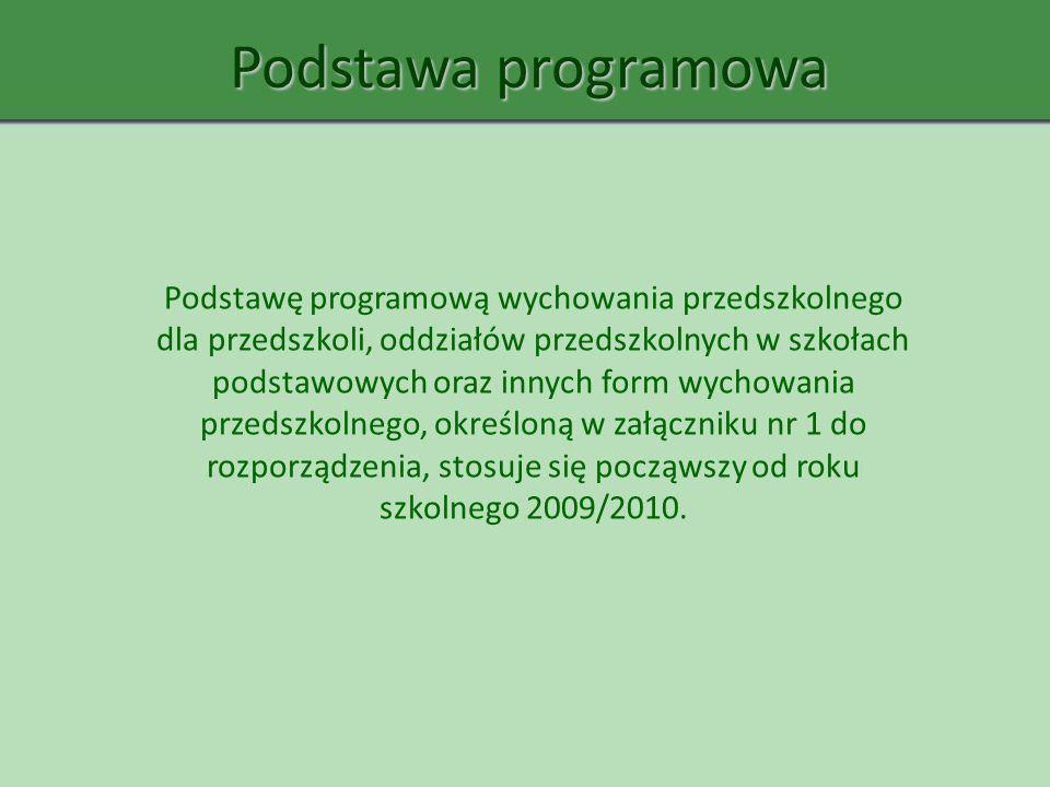Podstawa programowa Podstawę programową wychowania przedszkolnego dla przedszkoli, oddziałów przedszkolnych w szkołach podstawowych oraz innych form w
