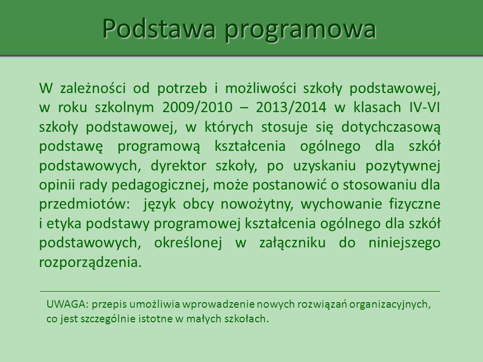 Podstawa programowa W zależności od potrzeb i możliwości szkoły podstawowej, w roku szkolnym 2009/2010 – 2013/2014 w klasach IV-VI szkoły podstawowej,