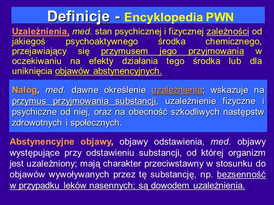 Definicje - Definicje - Encyklopedia PWN Uzależnienia, med. stan psychicznej i fizycznej zależności od jakiegoś psychoaktywnego środka chemicznego, pr