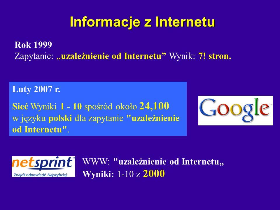 Informacje z Internetu Informacje z Internetu www.winter.pl/internet/uzaleznienie.html 21 marca 1997 r.