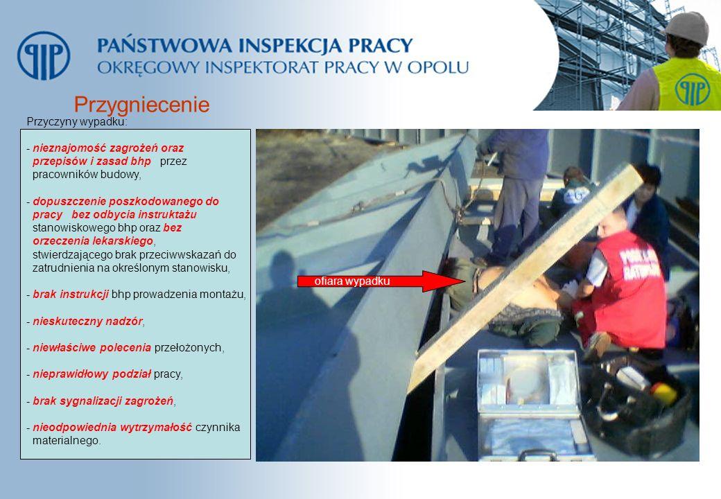 Przygniecenie ofiara wypadku Przyczyny wypadku: - nieznajomość zagrożeń oraz przepisów i zasad bhp przez pracowników budowy, - dopuszczenie poszkodowa