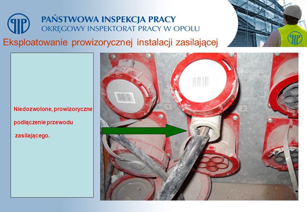 Eksploatowanie prowizorycznej instalacji zasilającej Niedozwolone, prowizoryczne podłączenie przewodu zasilającego.