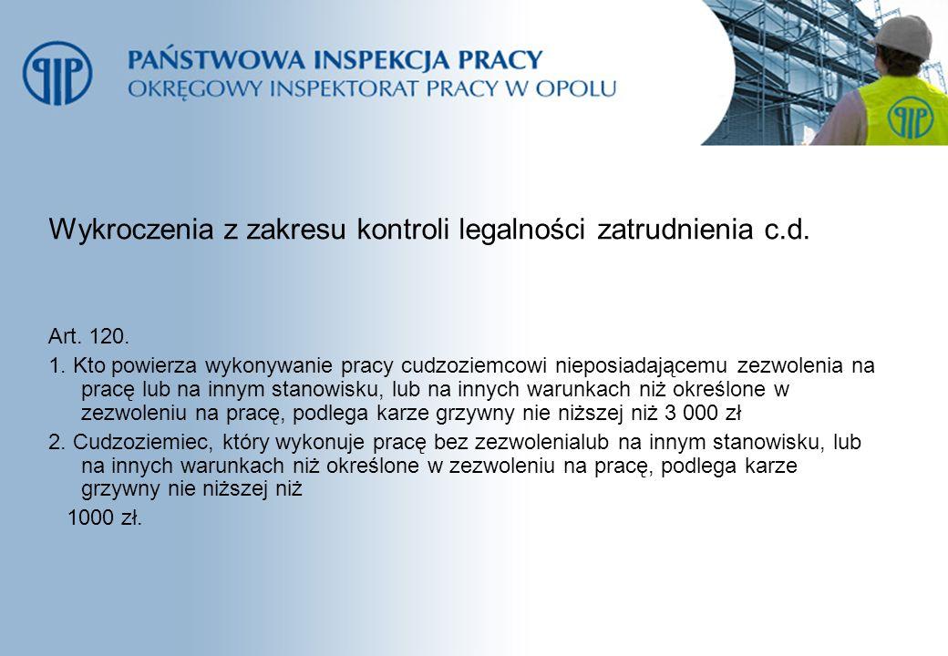 Wykroczenia z zakresu kontroli legalności zatrudnienia c.d. Art. 120. 1. Kto powierza wykonywanie pracy cudzoziemcowi nieposiadającemu zezwolenia na p