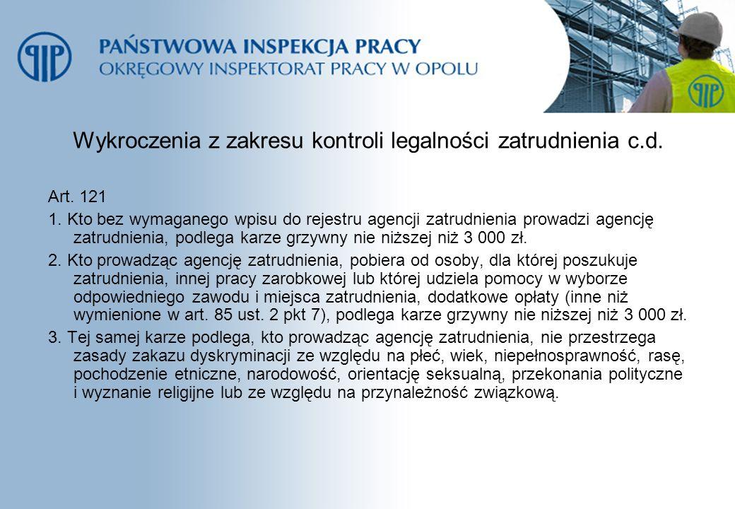 Wykroczenia z zakresu kontroli legalności zatrudnienia c.d. Art. 121 1. Kto bez wymaganego wpisu do rejestru agencji zatrudnienia prowadzi agencję zat