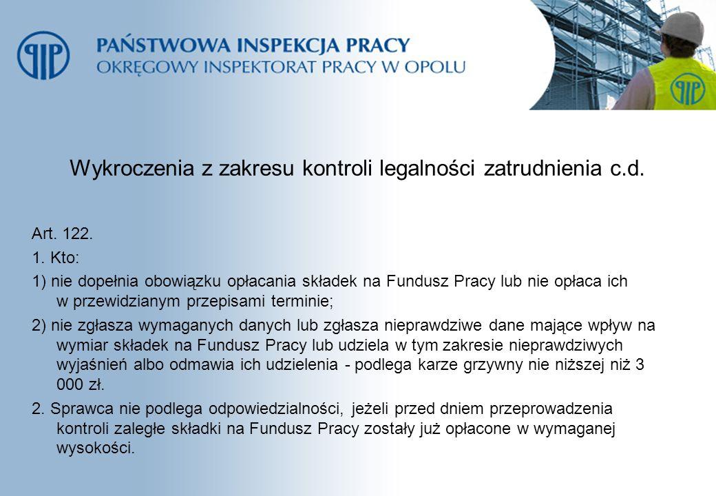 Wykroczenia z zakresu kontroli legalności zatrudnienia c.d. Art. 122. 1. Kto: 1) nie dopełnia obowiązku opłacania składek na Fundusz Pracy lub nie opł