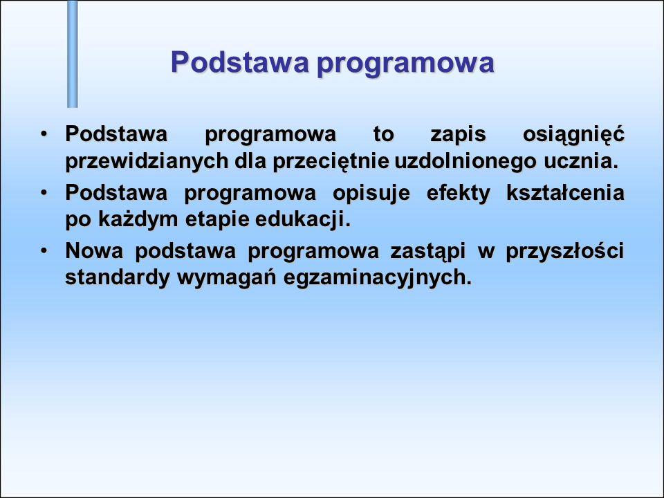 Podstawa programowa Podstawa programowa to zapis osiągnięć przewidzianych dla przeciętnie uzdolnionego ucznia.Podstawa programowa to zapis osiągnięć p