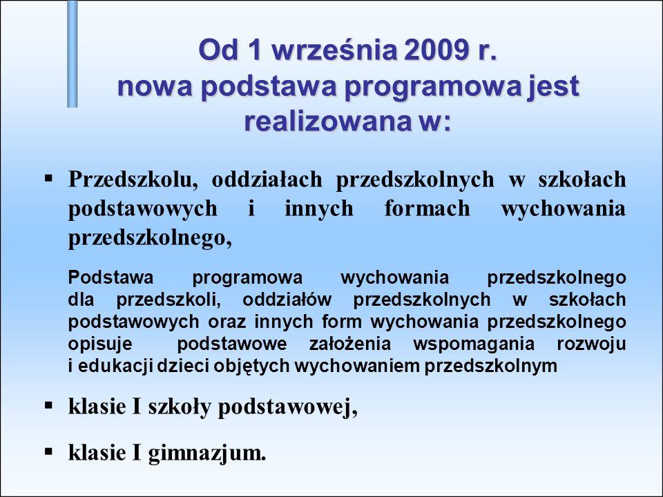 Od 1 września 2009 r. nowa podstawa programowa jest realizowana w: Przedszkolu, oddziałach przedszkolnych w szkołach podstawowych i innych formach wyc