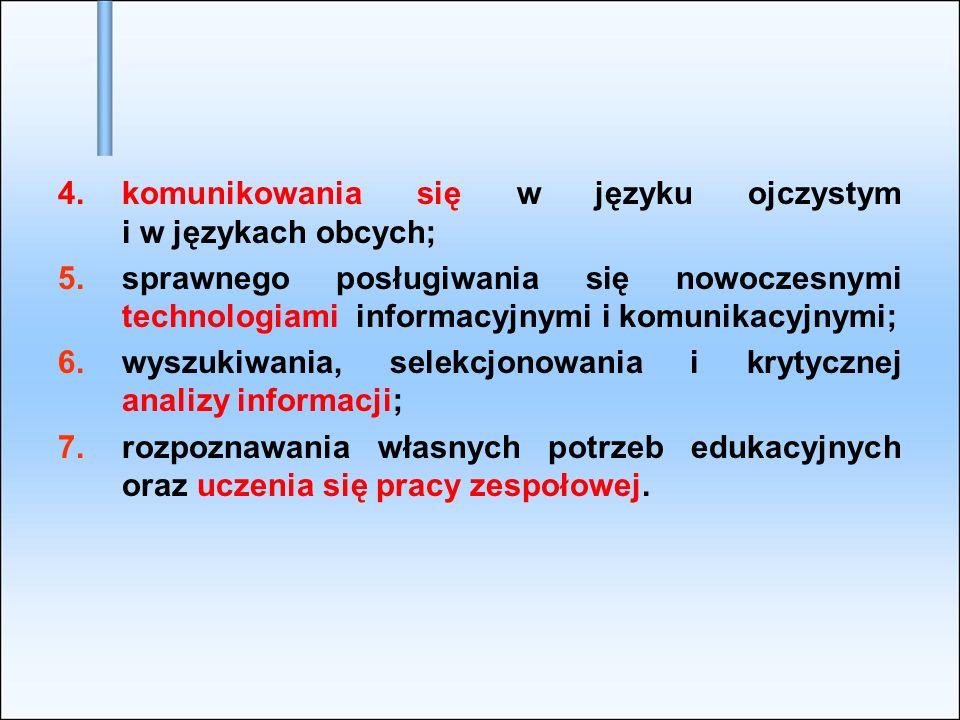 4.komunikowania się w języku ojczystym i w językach obcych; 5.sprawnego posługiwania się nowoczesnymi technologiami informacyjnymi i komunikacyjnymi;