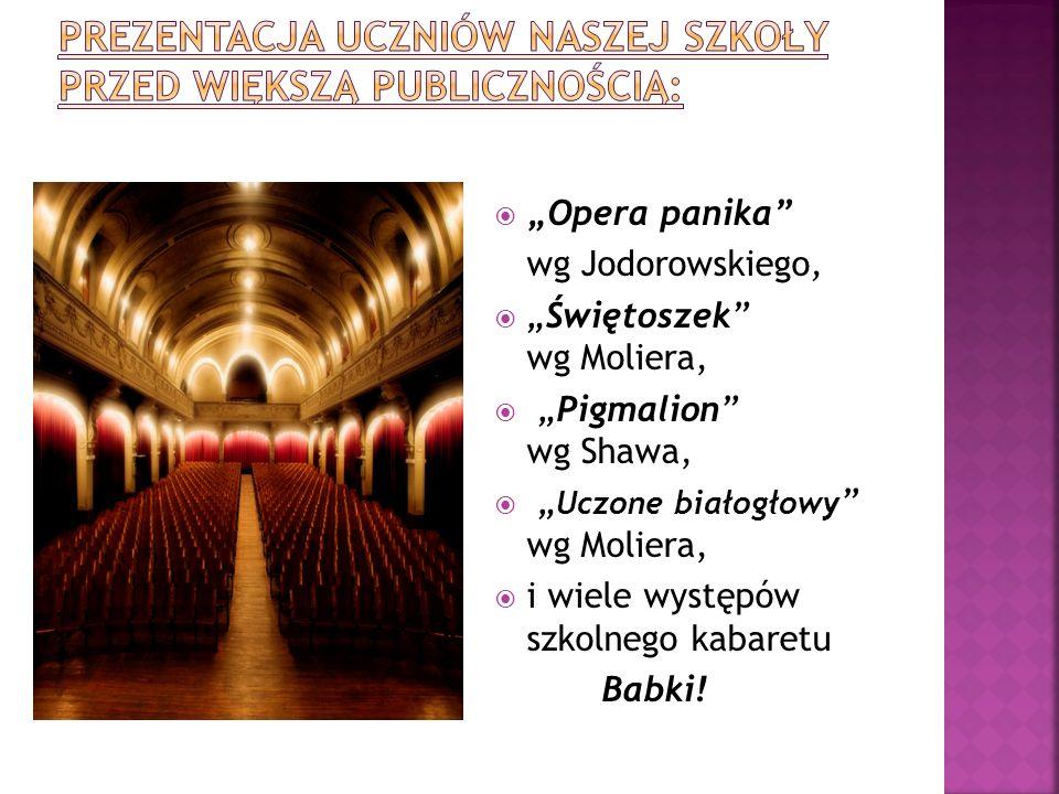 Opera panika wg Jodorowskiego, Świętoszek wg Moliera, Pigmalion wg Shawa, Uczone białogłowy wg Moliera, i wiele występów szkolnego kabaretu Babki!