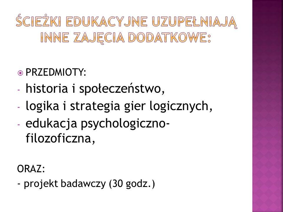 PRZEDMIOTY: - historia i społeczeństwo, - logika i strategia gier logicznych, - edukacja psychologiczno- filozoficzna, ORAZ: - projekt badawczy (30 godz.)