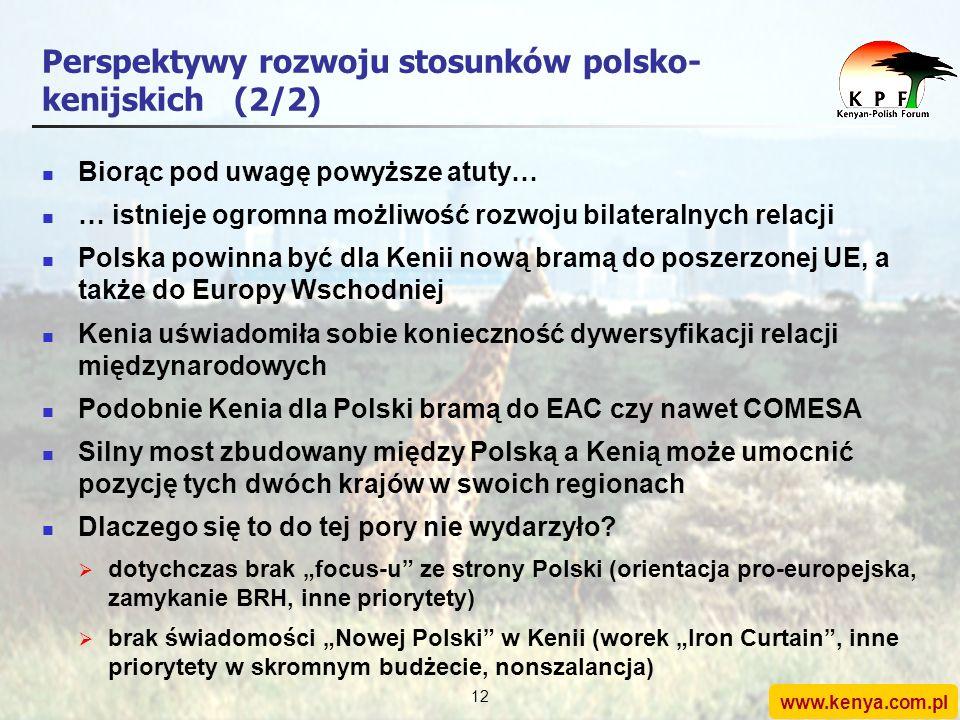 www.kenya.com.pl 11 Perspektywy rozwoju stosunków polsko- kenijskich(1/2) Atuty Polski: duży kraj europejski odgrywa istotną rolę w Europie Środkowej