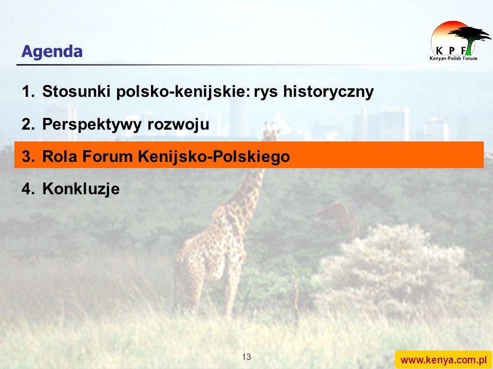 www.kenya.com.pl 12 Perspektywy rozwoju stosunków polsko- kenijskich(2/2) Biorąc pod uwagę powyższe atuty… … istnieje ogromna możliwość rozwoju bilate