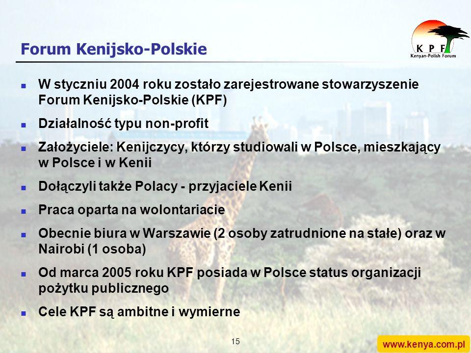www.kenya.com.pl 14 Forum Kenijsko-Polskie: geneza Kenijczycy, którzy studiowali w Polsce dostrzegli w 2003 roku (w przededniu wstąpienia Polski do UE