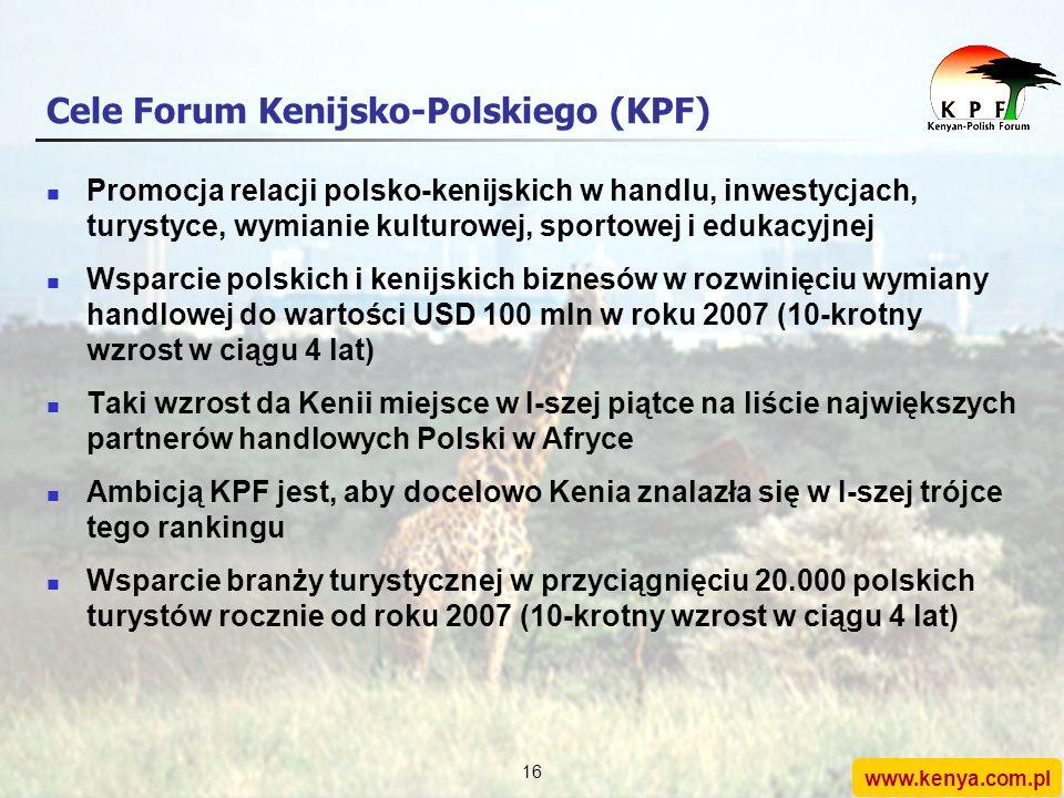 www.kenya.com.pl 15 Forum Kenijsko-Polskie W styczniu 2004 roku zostało zarejestrowane stowarzyszenie Forum Kenijsko-Polskie (KPF) Działalność typu no