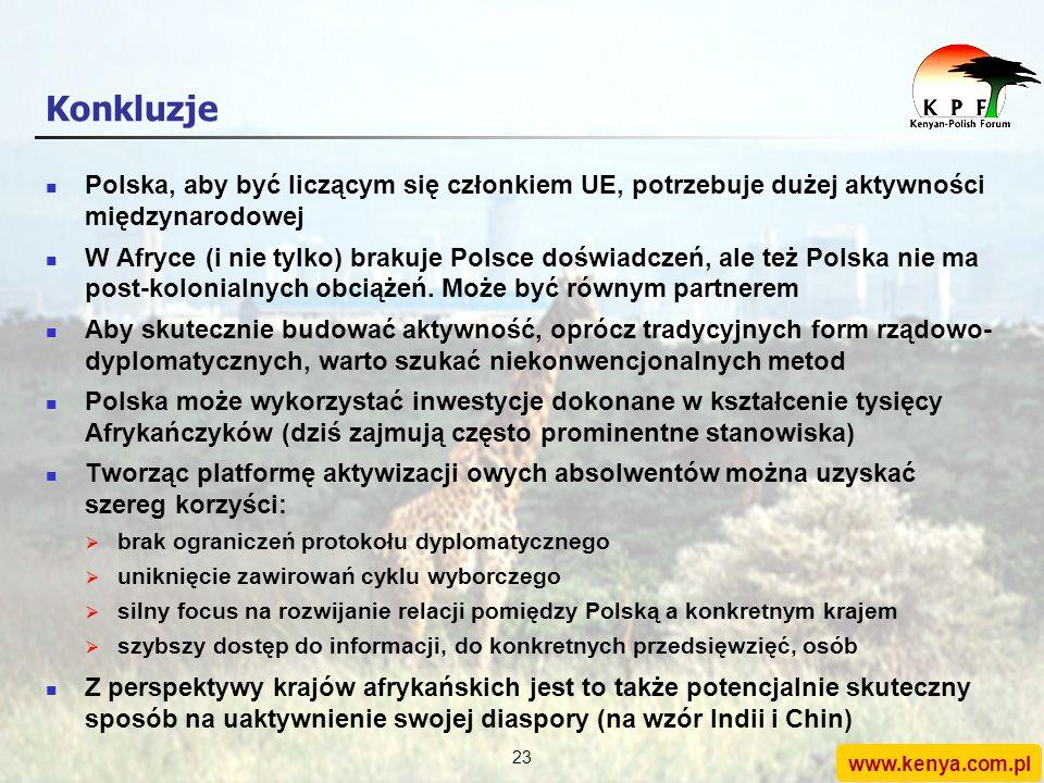 www.kenya.com.pl 22 Agenda 1.Stosunki polsko-kenijskie: rys historyczny 2.Perspektywy rozwoju 3.Rola Forum Kenijsko-Polskiego 4.Konkluzje