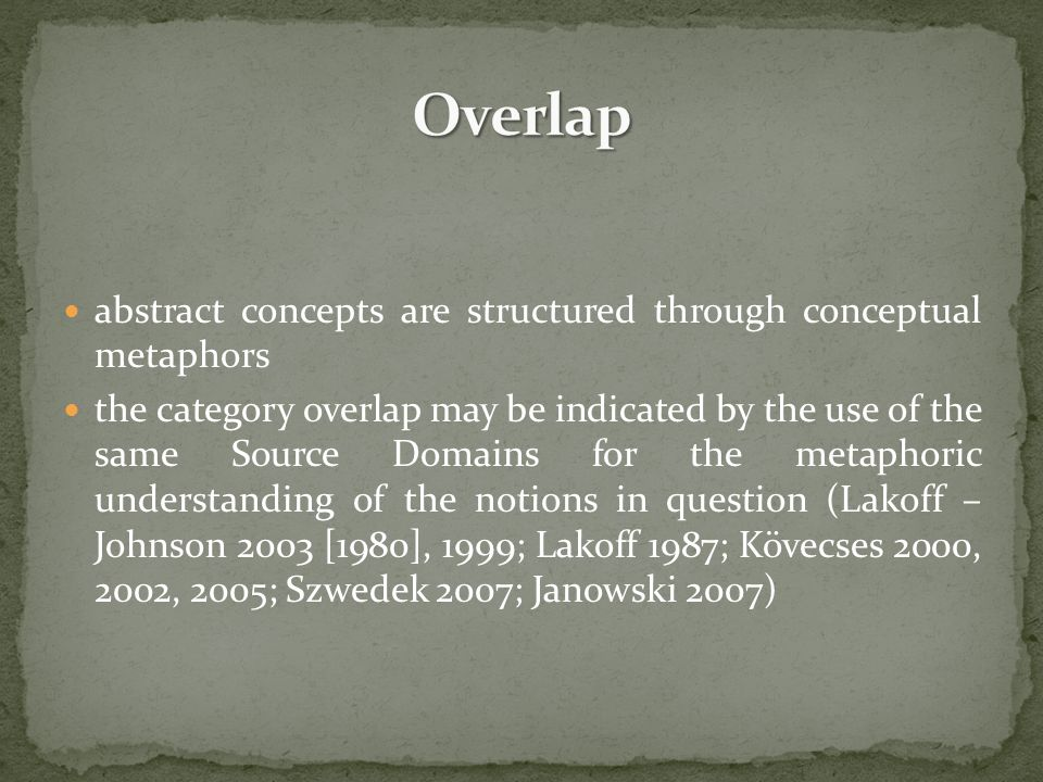 abstract concepts are structured through conceptual metaphors the category overlap may be indicated by the use of the same Source Domains for the meta