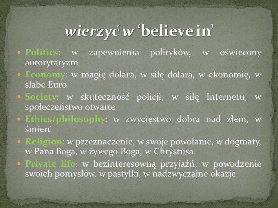 Politics: w zapewnienia polityków, w oświecony autorytaryzm Economy: w magię dolara, w siłę dolara, w ekonomię, w słabe Euro Society: w skuteczność policji, w siłę Internetu, w społeczeństwo otwarte Ethics/philosophy: w zwycięstwo dobra nad złem, w śmierć Religion: w przeznaczenie, w swoje powołanie, w dogmaty, w Pana Boga, w żywego Boga, w Chrystusa Private life: w bezinteresowną przyjaźń, w powodzenie swoich pomysłów, w pastylki, w nadzwyczajne okazje
