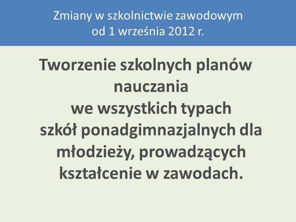 Szkolne plany nauczania zapoznanie się z zapisami rozporządzenia Ministra Edukacji Narodowej z dnia 7 lutego 2012 r.