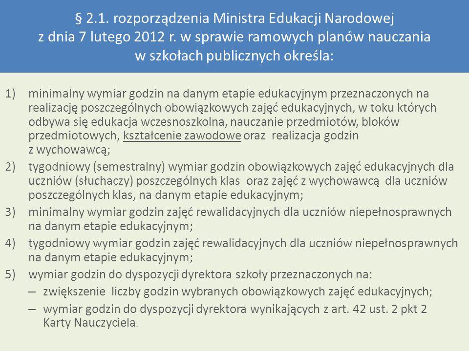 § 2.1. rozporządzenia Ministra Edukacji Narodowej z dnia 7 lutego 2012 r. w sprawie ramowych planów nauczania w szkołach publicznych określa: 1)minima