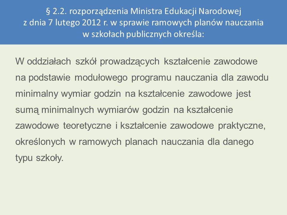 § 2.2. rozporządzenia Ministra Edukacji Narodowej z dnia 7 lutego 2012 r. w sprawie ramowych planów nauczania w szkołach publicznych określa: W oddzia