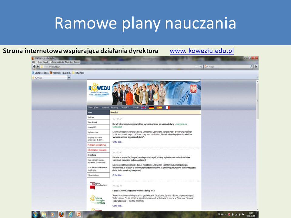 Ramowe plany nauczania Strona internetowa wspierająca działania dyrektora www. koweziu.edu.plwww. koweziu.edu.pl