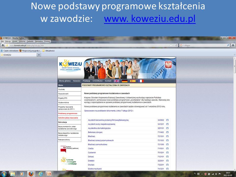 Nowe podstawy programowe kształcenia w zawodzie: www. koweziu.edu.plwww. koweziu.edu.pl