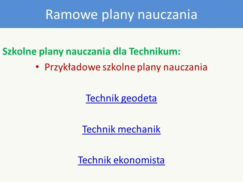 Ramowe plany nauczania Szkolne plany nauczania dla Technikum: Przykładowe szkolne plany nauczania Technik geodeta Technik mechanik Technik ekonomista