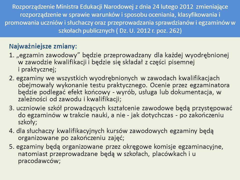 Rozporządzenie Ministra Edukacji Narodowej z dnia 24 lutego 2012 zmieniające rozporządzenie w sprawie warunków i sposobu oceniania, klasyfikowania i p